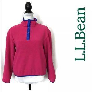 LL Bean Women's T-Snap Fleece Jacket Pink Pullover